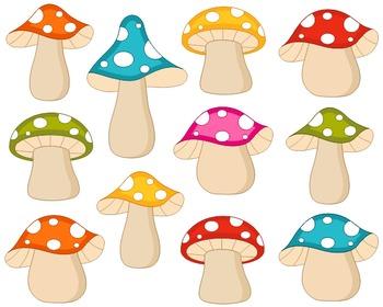 Colorful Fairy Woodland Mushrooms