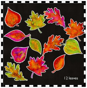 Colorful Fall Leaves and Chalkboard Frames