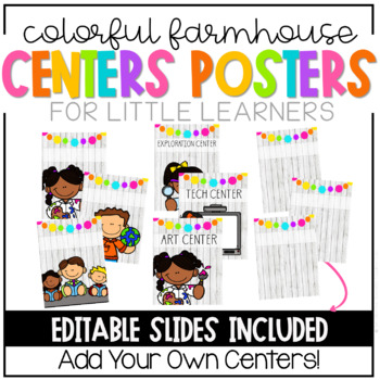 Colorful Farm House Learning Centers Posters-EDITABLE