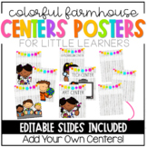 Colorful Farmhouse Learning Centers Signs-EDITABLE