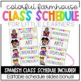 Colorful Farmhouse Classroom Schedule EDITABLE