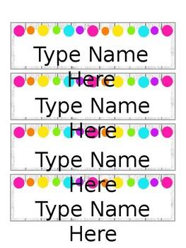 Colorful Farmhouse Nametags Editable