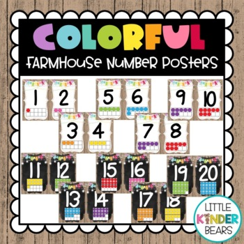 Colorful Farmhouse Number Posters