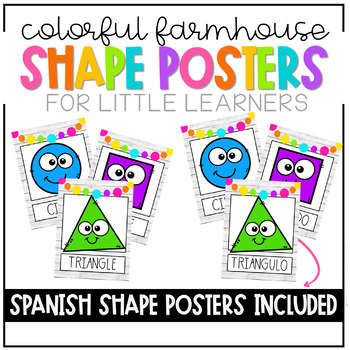 Colorful Farmhouse Shape Posters