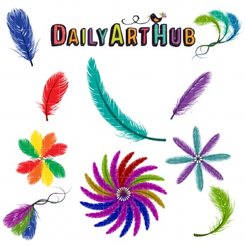Colorful Feathers Clip Art - Great for Art Class Projects!