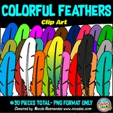 Colorful Feathers Clip Art for Teachers