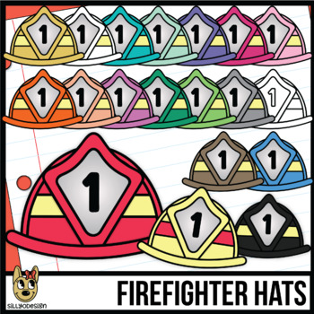 Colorful Firefighter Hats Clip Art