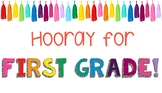 Colorful First Grade Classroom Poster / Banner / Sign