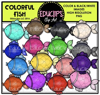 Colorful Fish Clip Art Bundle {Educlips Clipart}