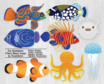 Fish Clip Art, 8 Beautiful and Colorful Hand Drawn Sealife Illustration Set