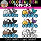 Colorful Fish Toppers Clipart  {Rainbow Clipart}