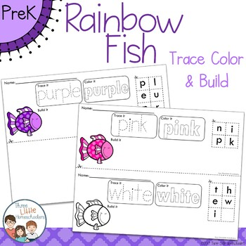 *Updated* Rainbow Fish Trace Color and Build Writing Center Activity