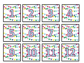 Colorful Flag Calendar Pieces - 7 designs