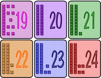 Colorful Flash Cards Numbers 1 to 30 with base ten blocks