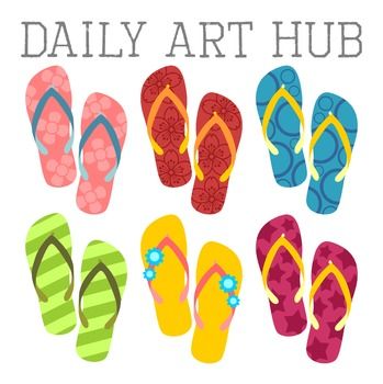 Colorful Flip Flops Clip Art - Great for Art Class Projects!