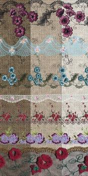 Colorful Floral Lace clipart overlays, burlap digital pape
