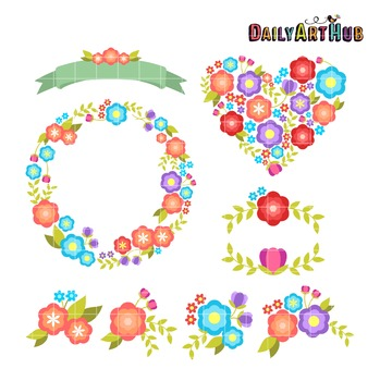 Colorful Florals Clip Art - Great for Art Class Projects!