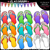 Colorful Flower Flip Flops Clip Art & B&W Set