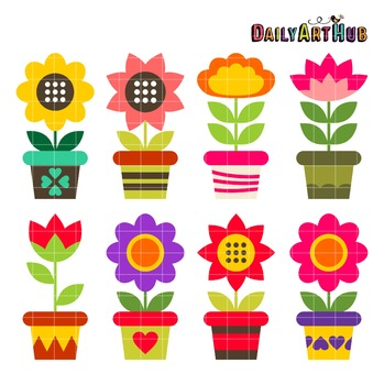 Colorful Flower Pots Clip Art - Great for Art Class Projects!
