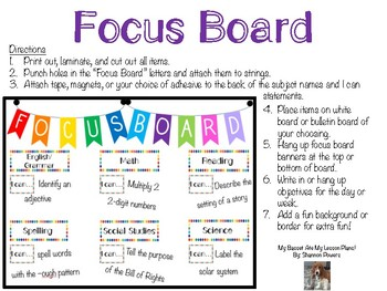 Colorful Focus/Objective Board with I Can Statements