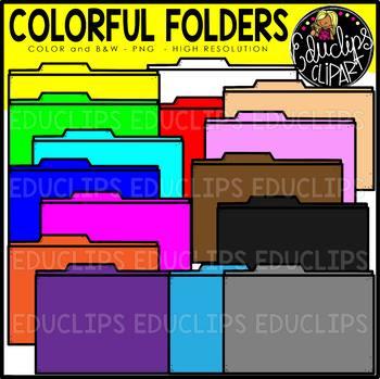 Colorful Folders Clip Art Set {Educlips Clipart}