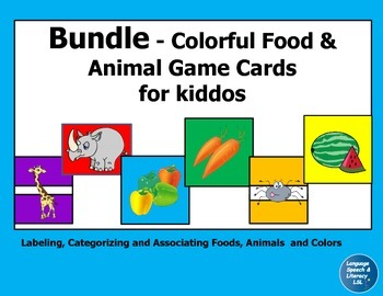 Bundle - Colorful Food & Animal Game Cards
