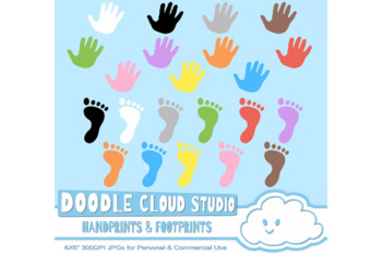 Colorful FootPrints & Handprints Cliparts, Colorful Hand & Foot prints cliparts.