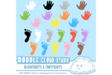 Colorful FootPrints & Handprints Cliparts, Colorful Hand &