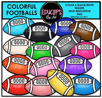 Colorful Footballs Clip Art Bundle {Educlips Clipart}