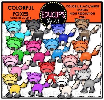 Colorful Foxes Clip Art Bundle {Educlips Clipart}