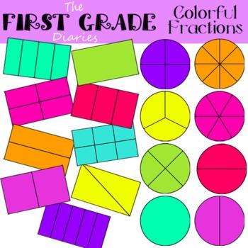 Colorful Fractions {Digital Clip Art} whole, halves, thirds, fourths
