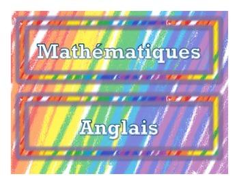 Colorful French Subject Labels (Étiquettes des Sujets en Français)