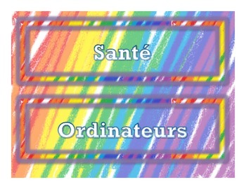Colorful French Subject Labels (Étiquettes des Sujets en Français)