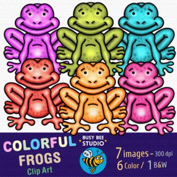Colorful Frogs Clip Art   Freebie