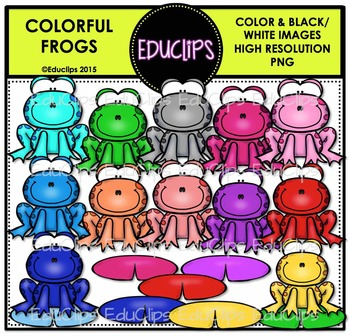 Colorful Frogs Clip Art Bundle