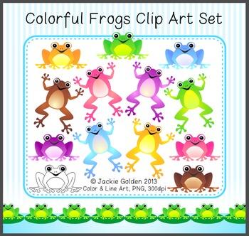 Colorful Frogs Clip Art Set