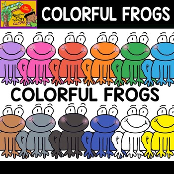 Colorful Frogs - Set of Cliparts