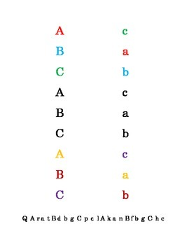 Colorful Fun Letters A to C Recognition Lower-case Upper-c