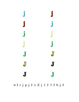 Colorful Fun Letters J to L Recognition Lower-case Upper-case Match Point-Out