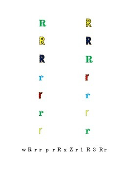 Colorful Fun Letters P to R Recognition Lower-case Upper-case Match Point-Out