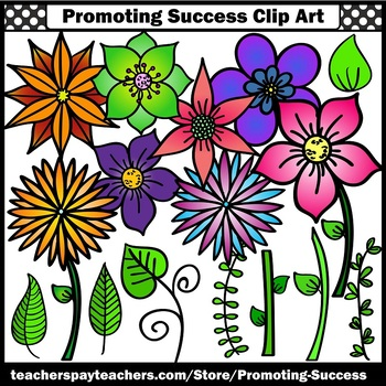 Colorful Garden Flower Clip Art Stems & Leaves Summer Clipart Commercial Use SPS