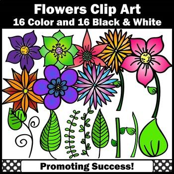Flower Clipart, Leaves Clip Art SPS