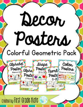Colorful Geometric Classroom Decor Poster Pack