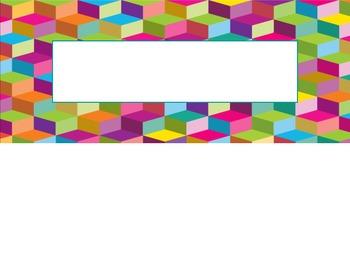 Colorful Geometric Pattern Nametag Labels