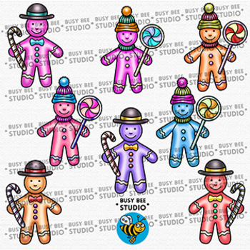 Colorful Gingerbread Man Clip Art | Christmas Clipart