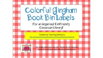 Colorful Gingham Book Bin Labels for Classroom Libraries