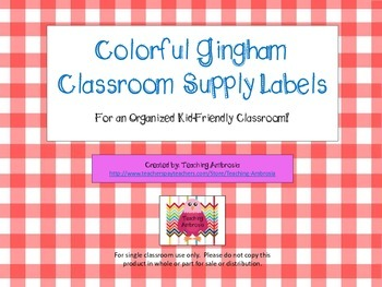 Colorful Gingham Classroom Supply Labels