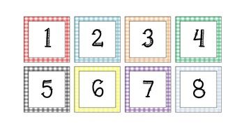 Colorful Gingham Cubby Numbers and Calendar Set