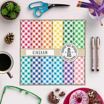Colorful Gingham Digital Paper