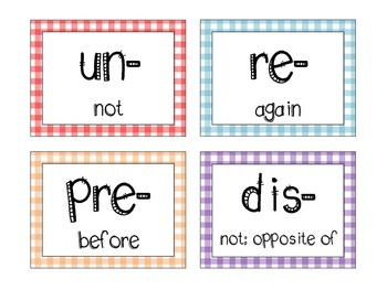 Colorful Gingham Prefixes and Suffixes Set